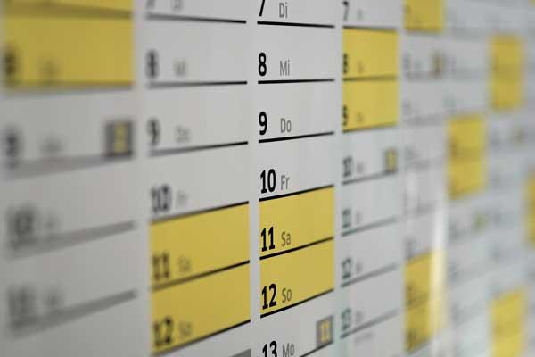 Próximas actividades y calendario